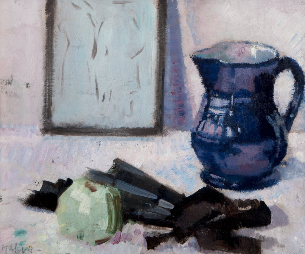 Detail of Still-life with blue jug, fan & apple by Francis Cadell