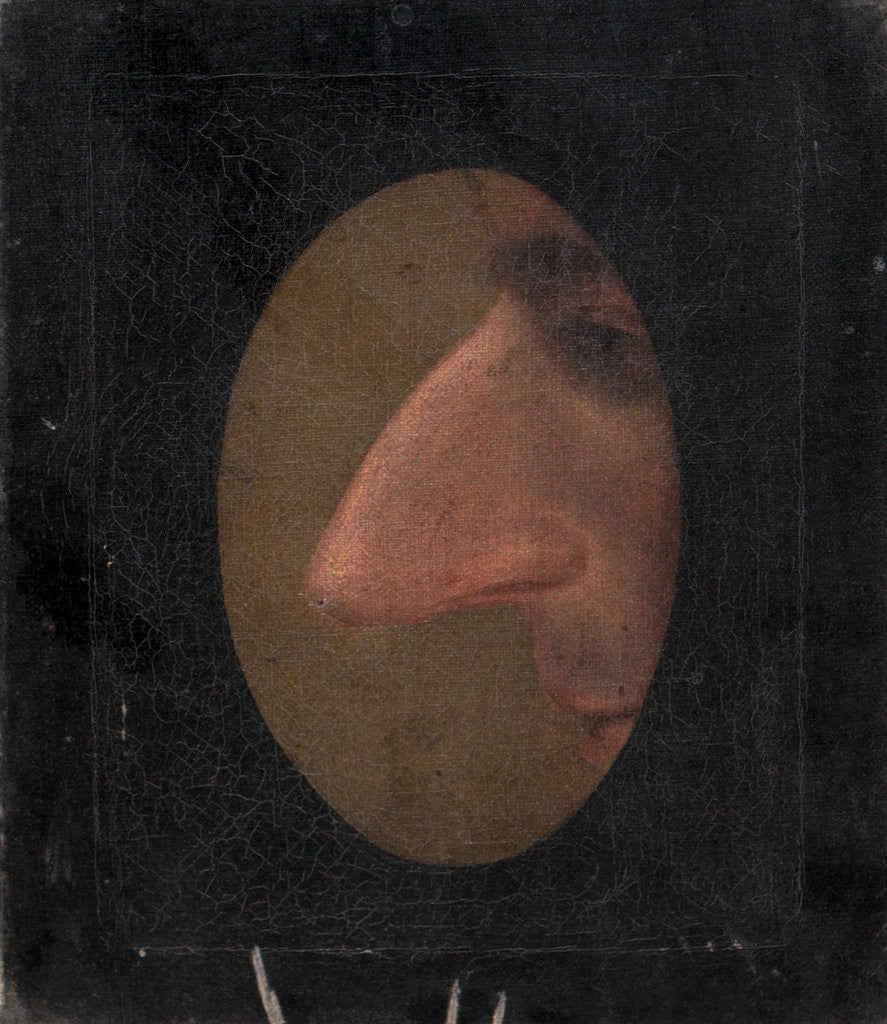 Detail of Charicature, a nose in profile through an oval spy hole, c.1850 by unknown