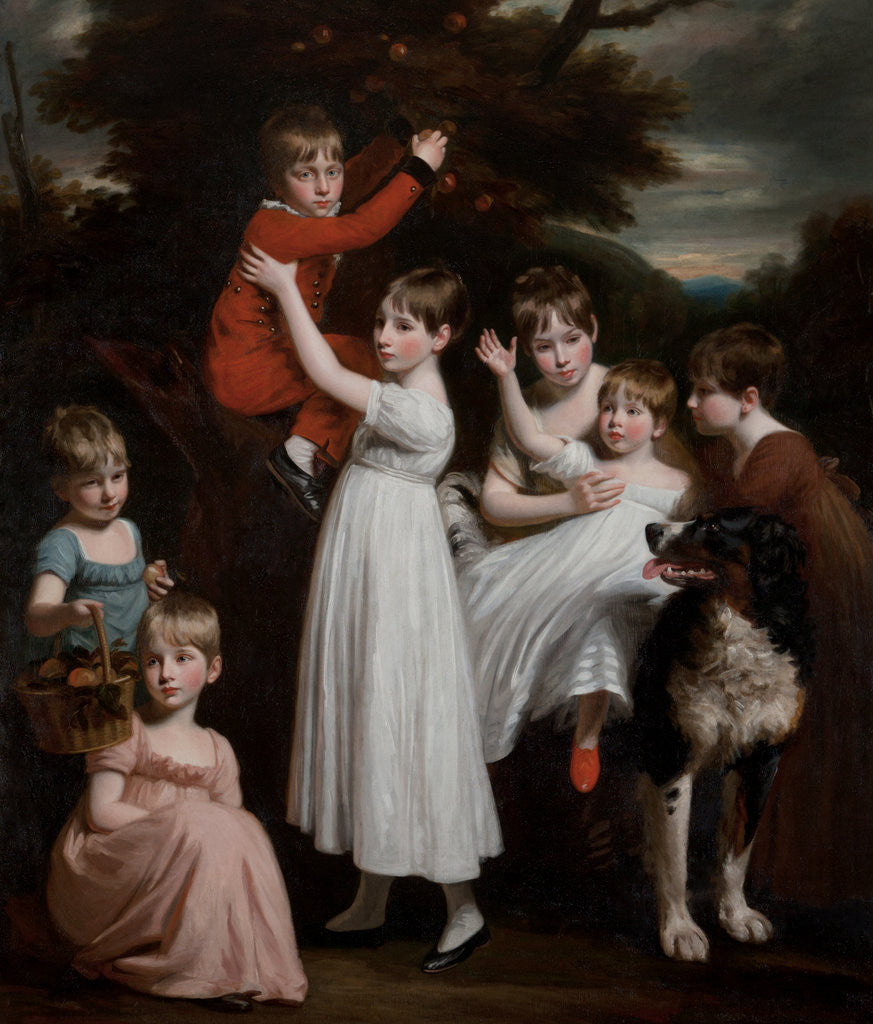Detail of William Brodie, later 22nd Laird, with his brothers, sisters and a dog by John Opie