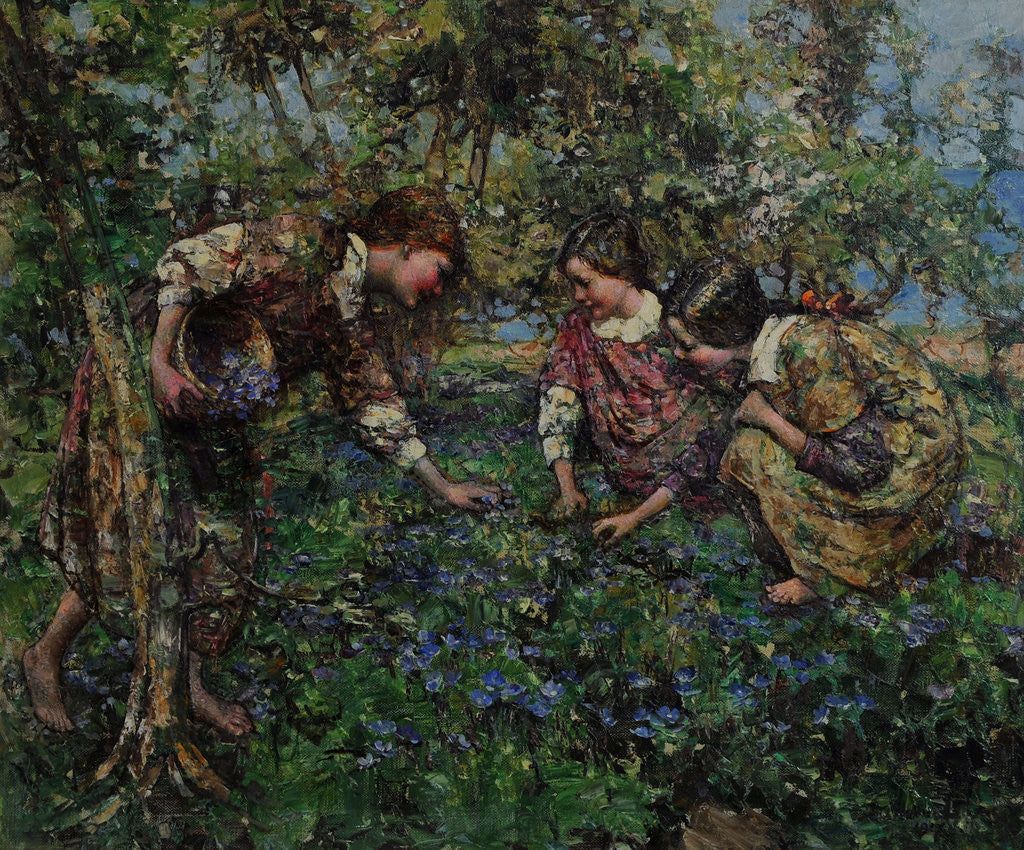 Girls Picking Blue Flax, 1917 by Edward Atkinson Hornel