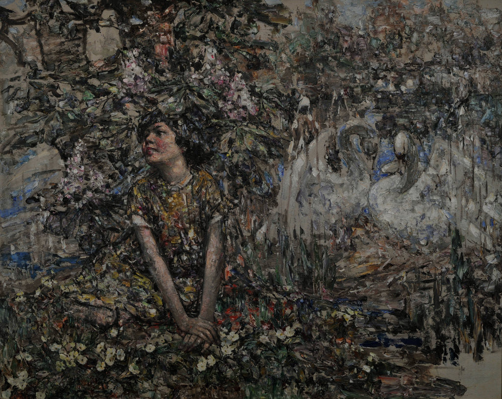 Detail of Girl with Nesting Swans by Edward Atkinson Hornel