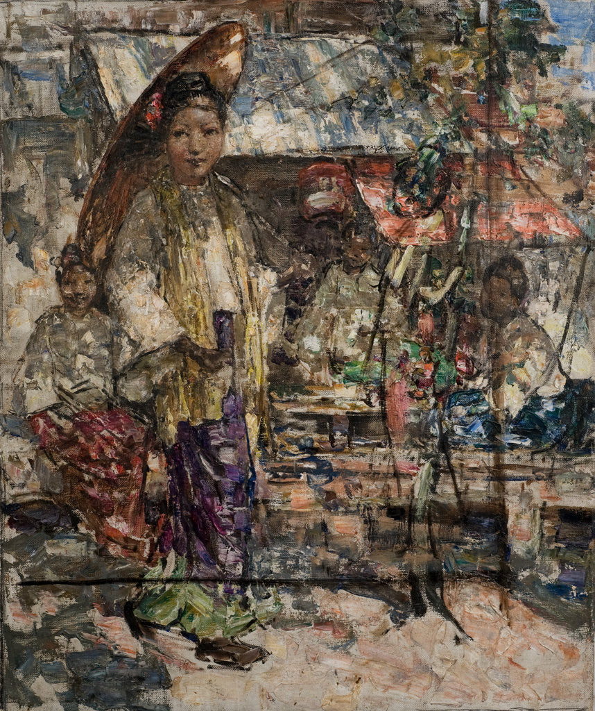 Detail of Burmese Girls and Market Stalls, c.1922-27 by Edward Atkinson Hornel