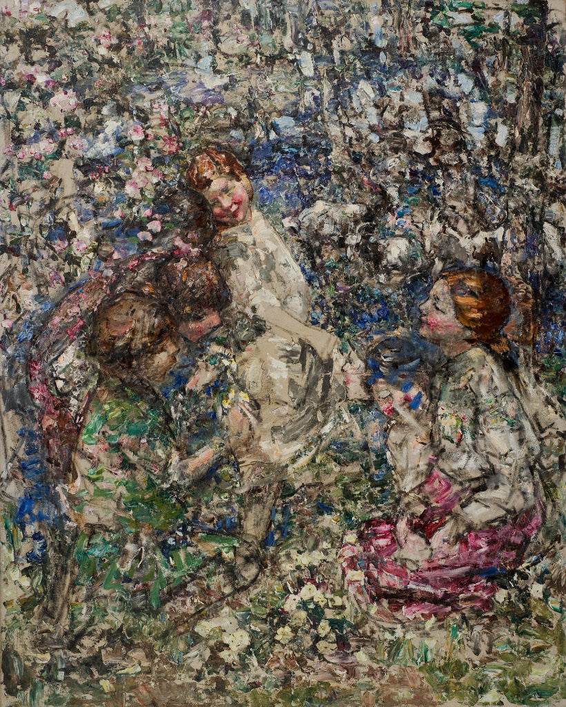 Detail of The Bluebell Wood, Gathering Primroses, 1897-1933 by Edward Atkinson Hornel