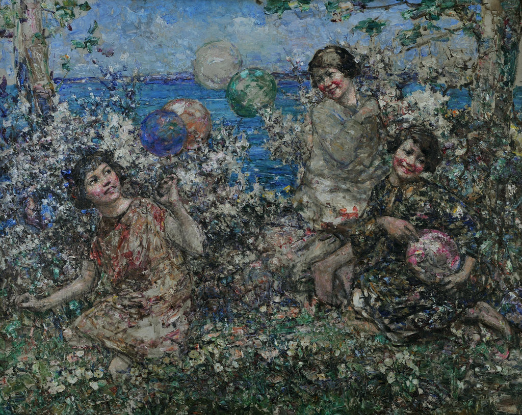 Detail of Balloons & Blossom, Brighouse Bay, 1897-1933 by Edward Atkinson Hornel