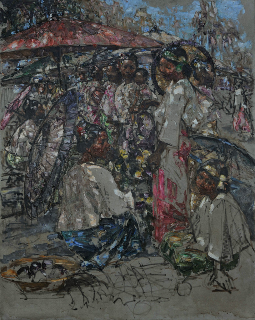 Detail of A Burmese Market, c.1922-27 by Edward Atkinson Hornel