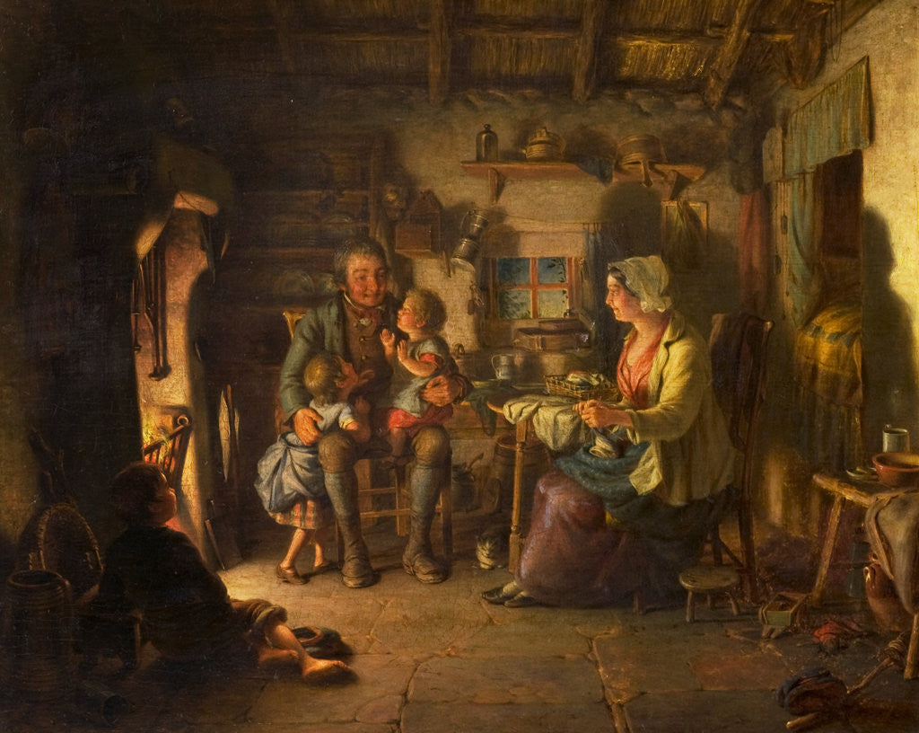 Edrien Cockburn Burns in Cottage scene, 1860 by Edrien Cockburn