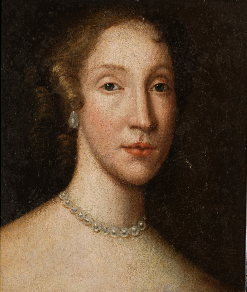 Detail of Head of a Lady with a Pearl Necklace by British School