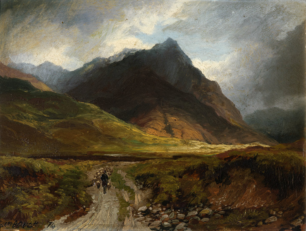 Detail of Samuel Bough Mountain Valley with a Drover,1874 by Samuel Bough