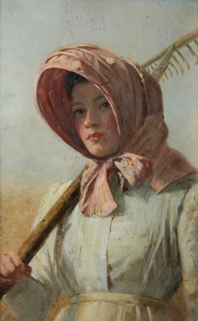 Detail of A girl with a rake over her shoulder, c.1900 by British School