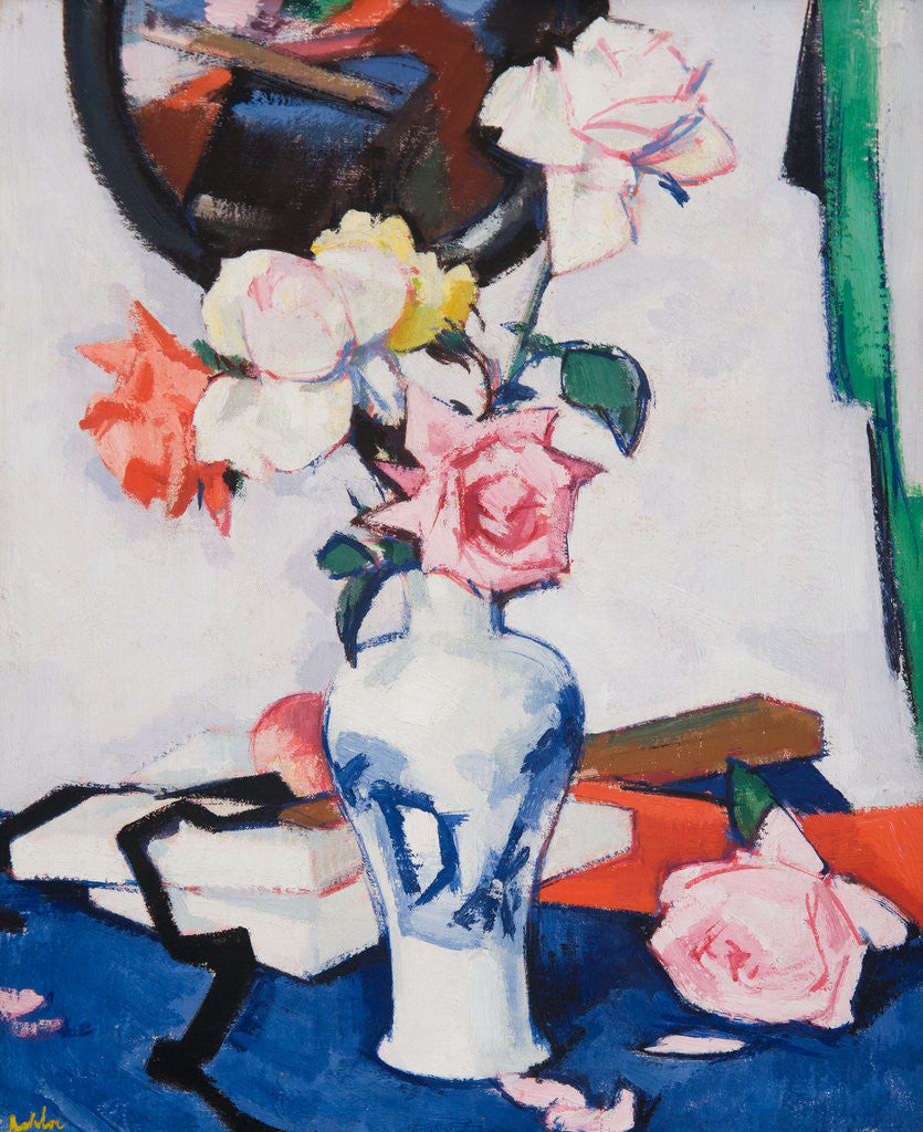 Detail of Still Life with Roses and Mirror by Samuel John Peploe