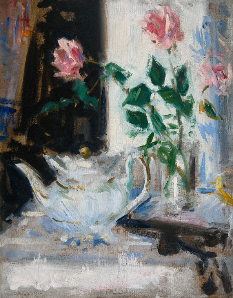 Detail of Pink Roses and Teapot by Francis Cadell