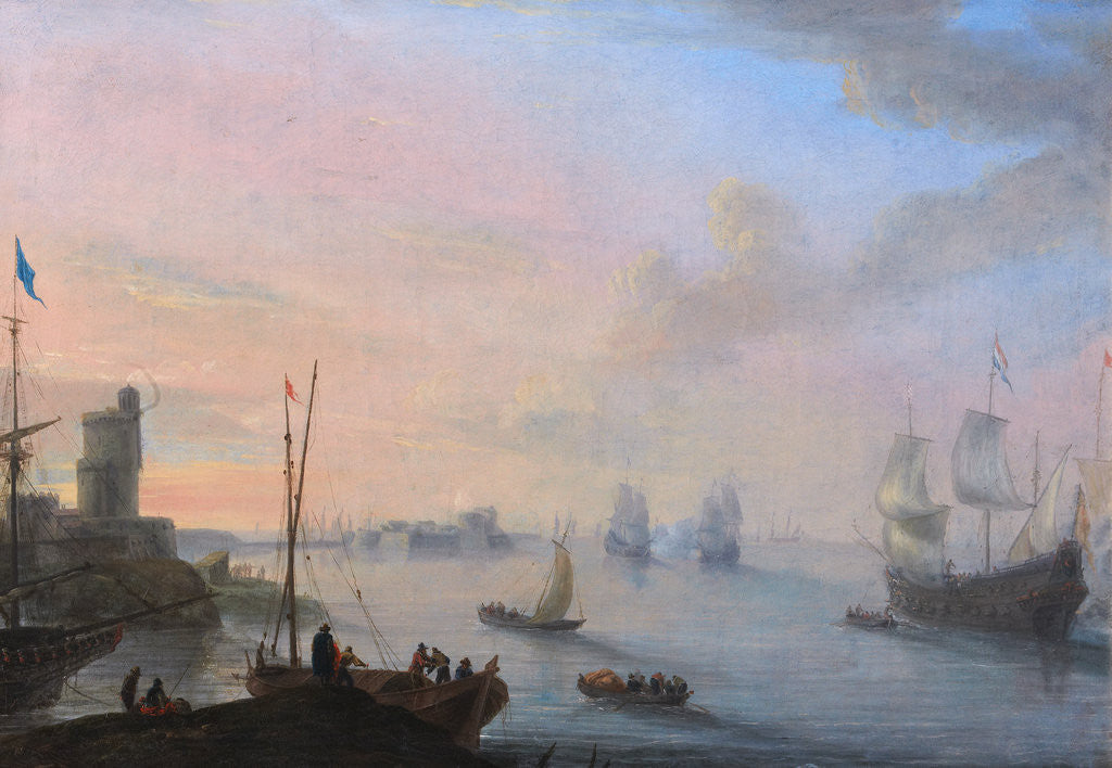 Detail of Coastal Scene with Sailing Ships and Rowing Boats by Flemish School