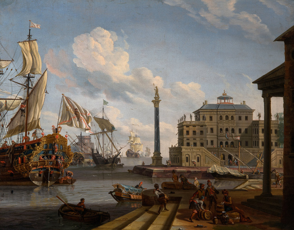 Detail of Seaport by Abraham Jansz Storck
