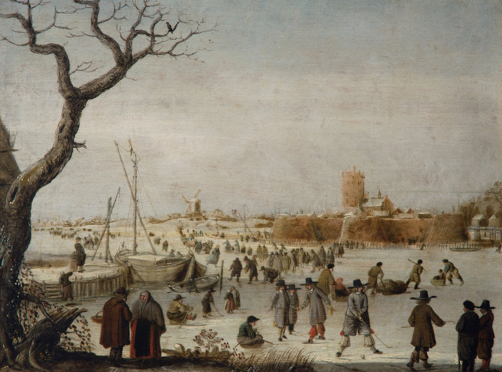 Detail of Winter Landscape with Skaters on a River Near a Walled Town by Berent Petersz Avercamp