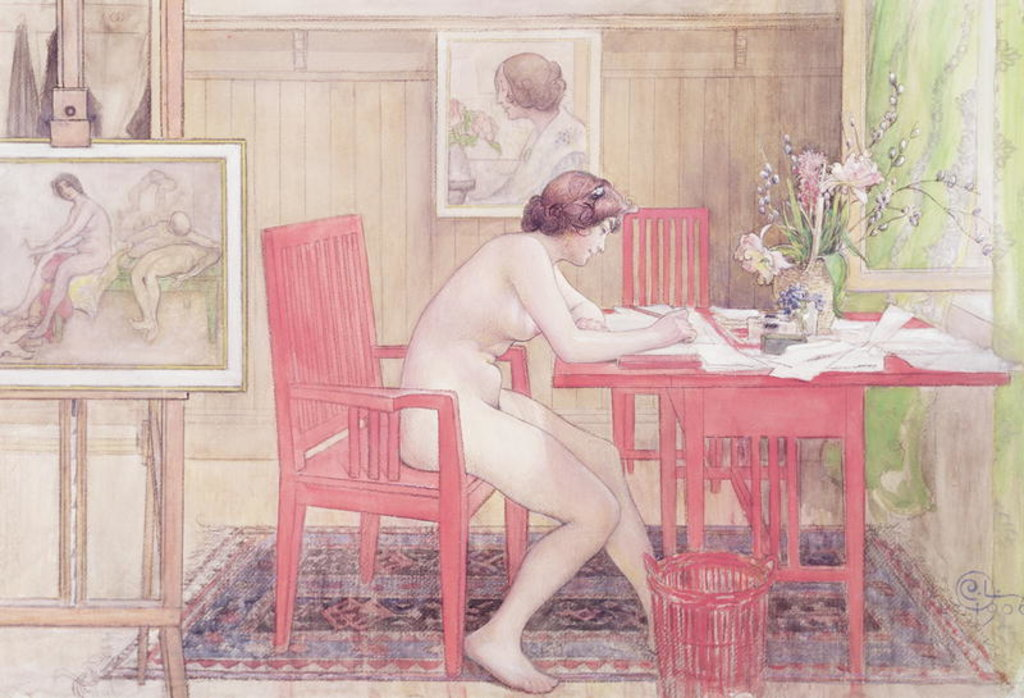 Detail of Model Writing Postcards, 1906 by Carl Larsson