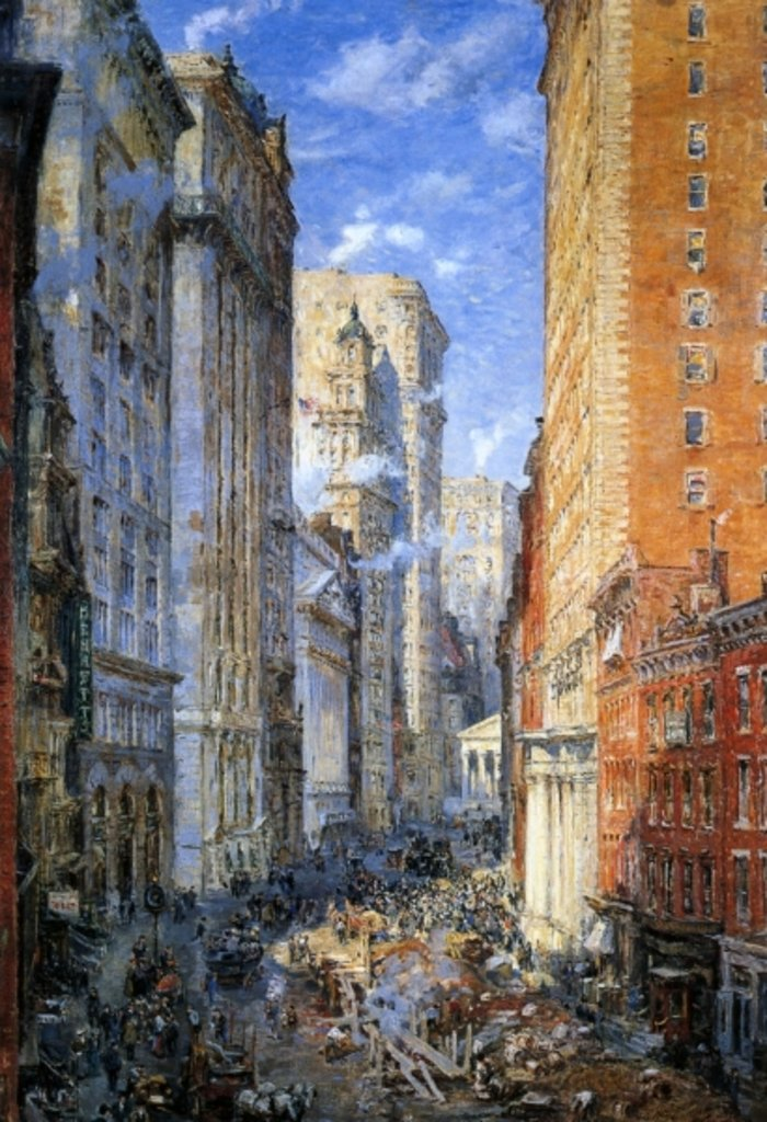Detail of Broad Street, New York, c.1904 by Colin Campbell Cooper