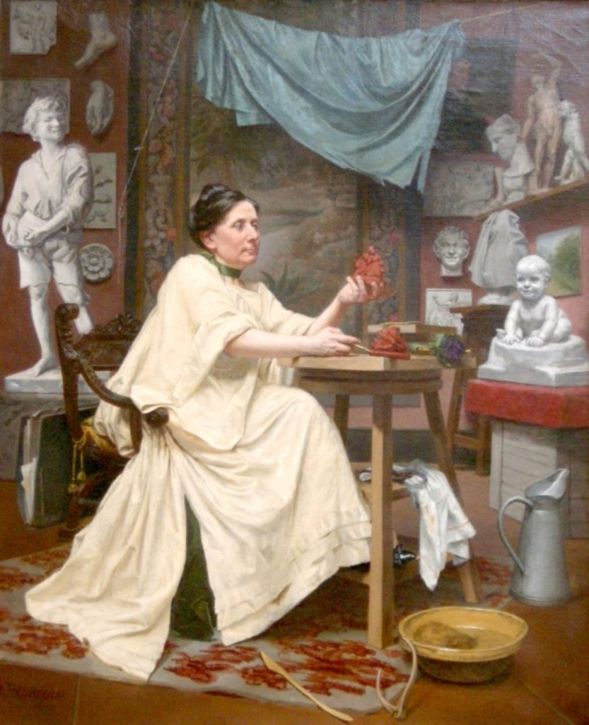Detail of Mlle Moria in her studio by Blanche Polonceau