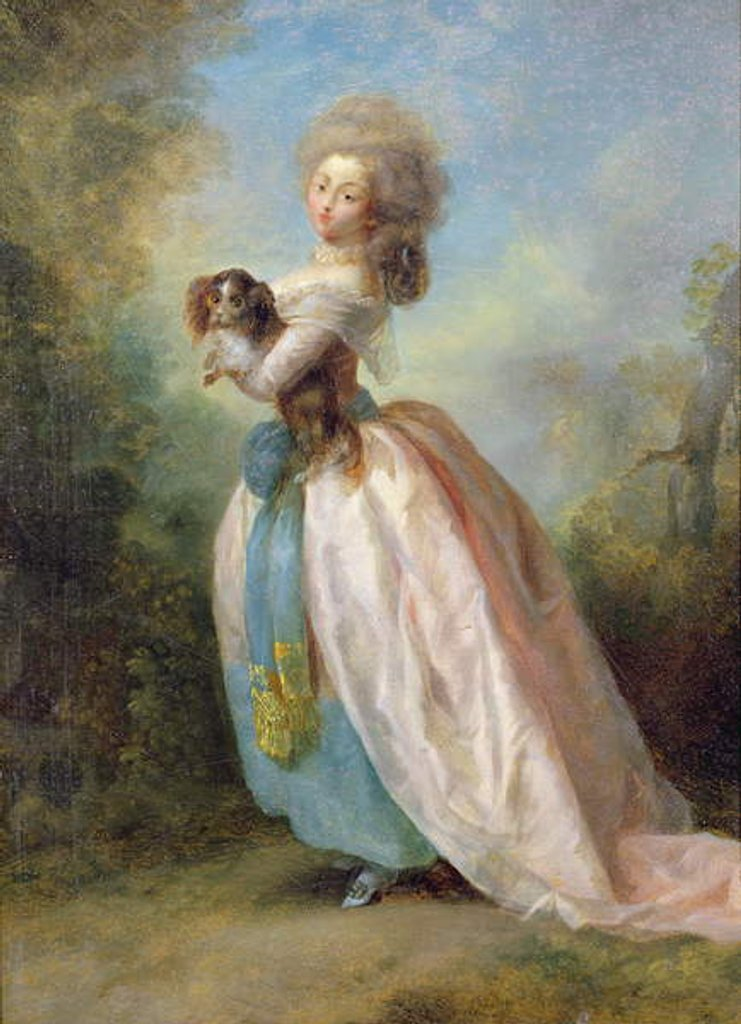 Detail of A Lady with a Dog by Jean-Frederic Schall