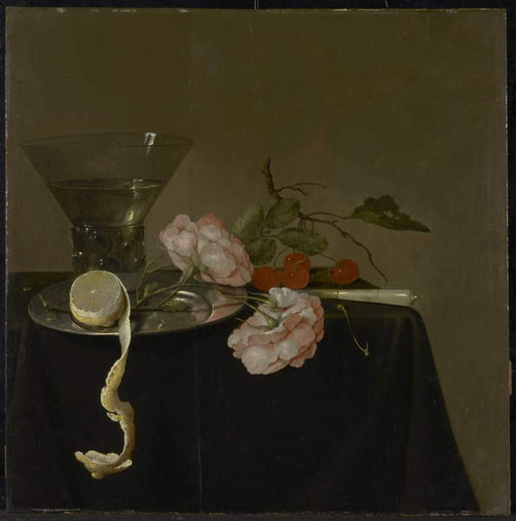 Detail of Still Life with Drinking Glass, Fruit and Roses, c.1632-34 by Jan Davidsz de Heem