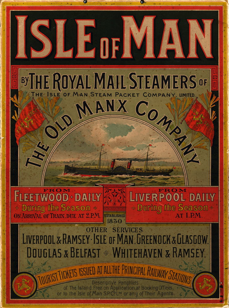 Detail of Isle of Man by the Royal Mail Steamers of the Old Manx Company by Isle of Man Steam Packet Co. Ltd.