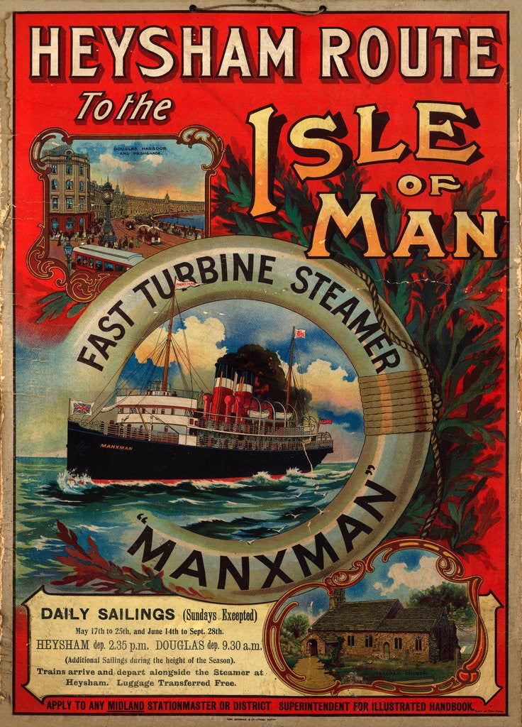 Detail of Heysham route to the Isle of Man on the fast turbine steamer 'Manxman' by Tom Browne