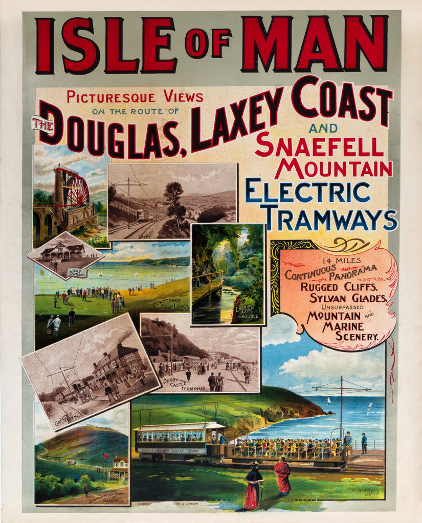 Detail of Isle of Man Picturesque Views on the Route of the Douglas, Laxey Coast & Snaefell Mountain Electric Tramways by F.B. Ward