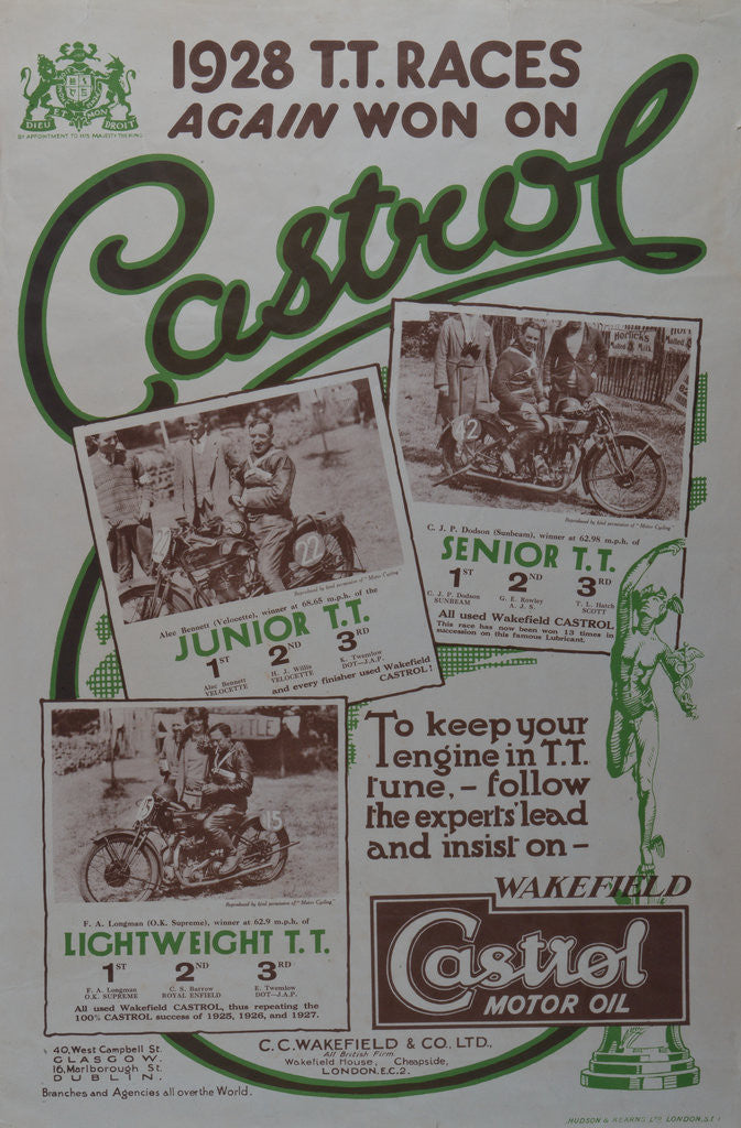 Detail of 1928 TT Races again won on Castrol by Wakefield