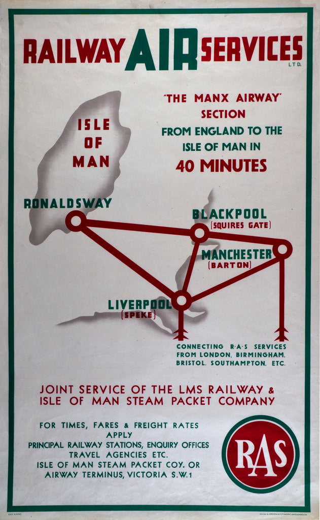 Detail of Railway Air Services the Manx Airway Section From England to Isle of Man in 40 minutes by Railway Air Services Ltd.