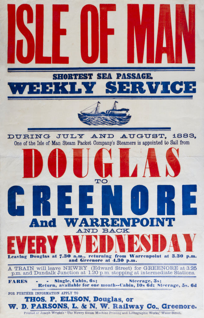 Detail of Isle of Man shortest sea passage weekly services Douglas to Greenhoe and Warrenpoint every Wednesday by Thomas P. Ellison