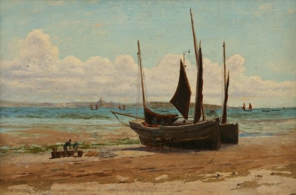 Detail of Fishing boats in Mount's Bay by Henry Martin