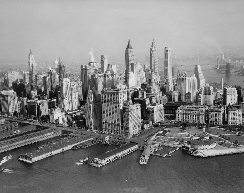 Detail of Aerial View of Downtown New York City with Harbor by Corbis