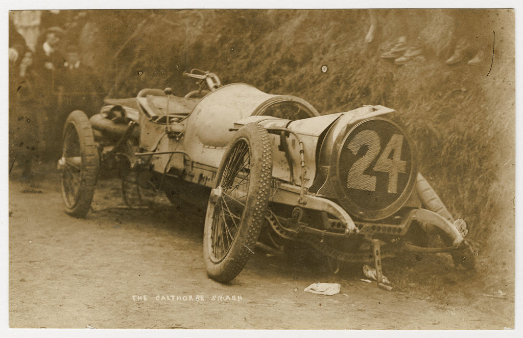 Detail of Calthorpe smash at the 1908 Tourist Trophy motorcar race by Anonymous