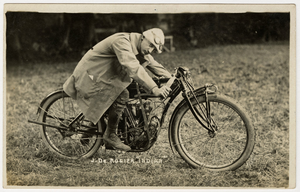 Detail of Jake de Rosier poses aboard an Indian machine, 1911 TT (Tourist Trophy) by Anonymous