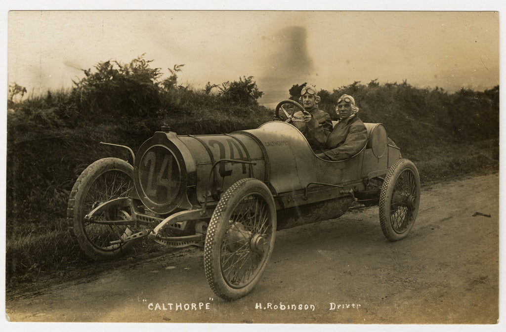 Detail of H. Robinson in a Calthorpe, No.24  1908 Tourist Trophy motorcar race by Anonymous