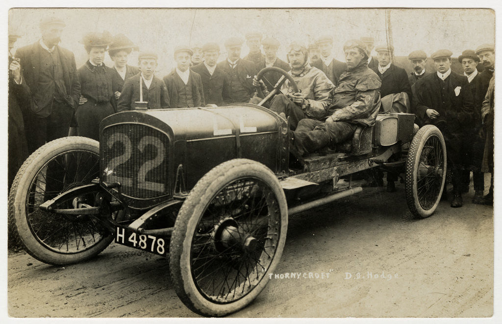 Detail of D.S. Hodge in a Thornycroft,1908 Tourist Trophy motorcar race by Anonymous