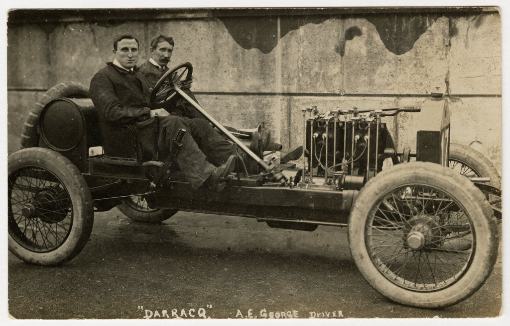 Detail of A.E. George in a Darracq, 1908 Tourist Trophy motorcar race by Anonymous