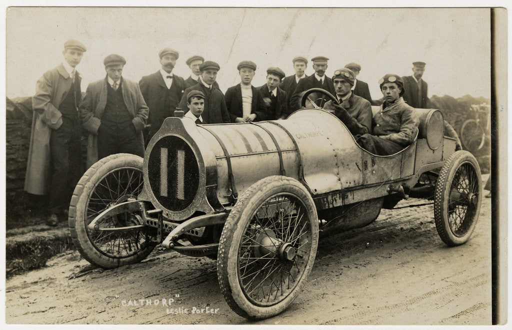 Detail of Leslie Porter in a Calthorpe, 1908 Tourist Trophy motorcar race by Anonymous