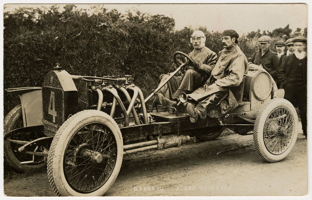 Detail of Algernon Lee Guinness in a Darracq, 1908 Tourist Trophy motorcar race by Anonymous