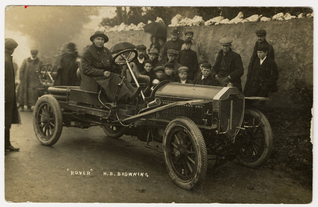 Detail of H.B. Browning in a Rover, 1908 Tourist Trophy motorcar race by Anonymous