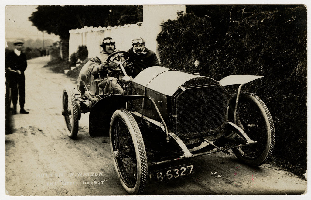 Detail of W. Watson in a Napier Hutton,1908 Tourist Trophy motorcar race by Anonymous