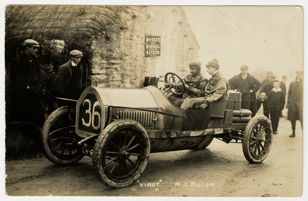 Detail of M.L. Molon in a Vinot, 1908 Tourist Trophy motorcar race by Anonymous