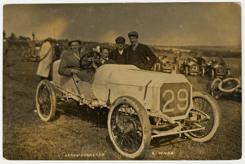 Detail of G. Moss in an Arrol-Johnston, 1908 Tourist Trophy motorcar race by Anonymous