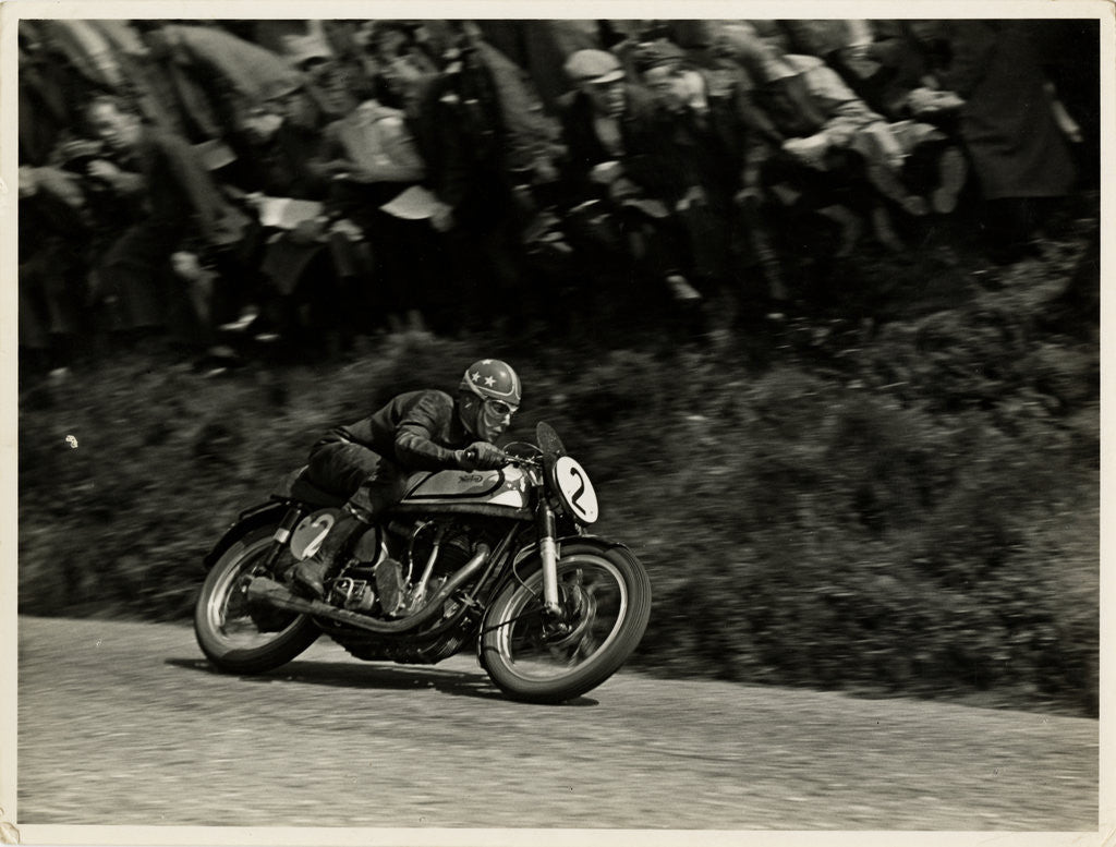 Detail of Nick Nicholson riding Norton number 2, Kate's Cottage, 1953 Senior TT (Tourist Trophy) by T.M. Badger