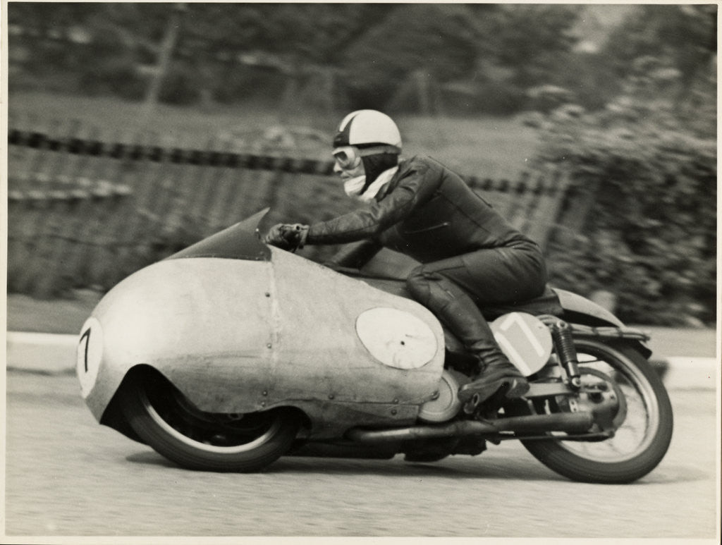 Detail of Cecil Sandford, riding as number 17, 1955 TT (Tourist Trophy) by T.M. Badger