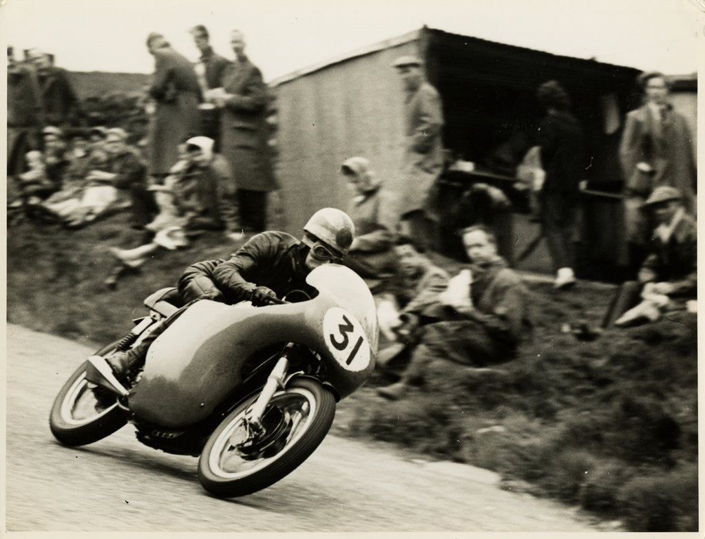 Detail of Dave Chadwick aboard Norton (number 31), 1958 Senior TT (Tourist Trophy) by T.M. Badger