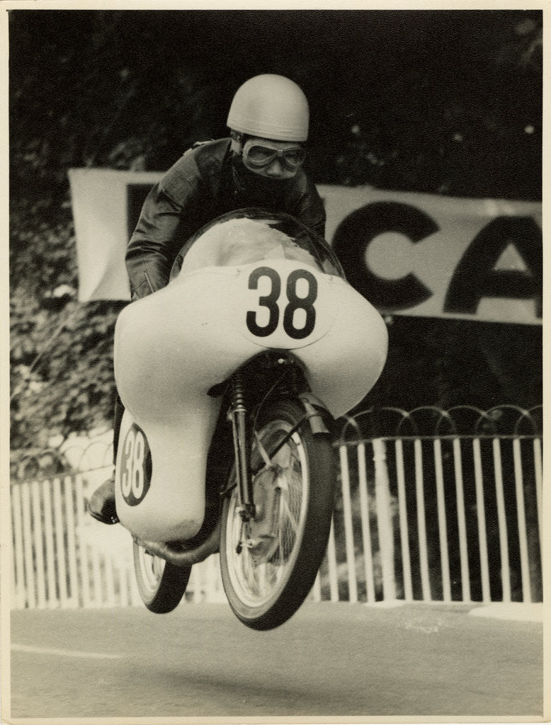 Detail of Tansharu Noguchi aboard 124cc Yamaha (number 38), 1961 250 TT (Tourist Trophy) by T.M. Badger
