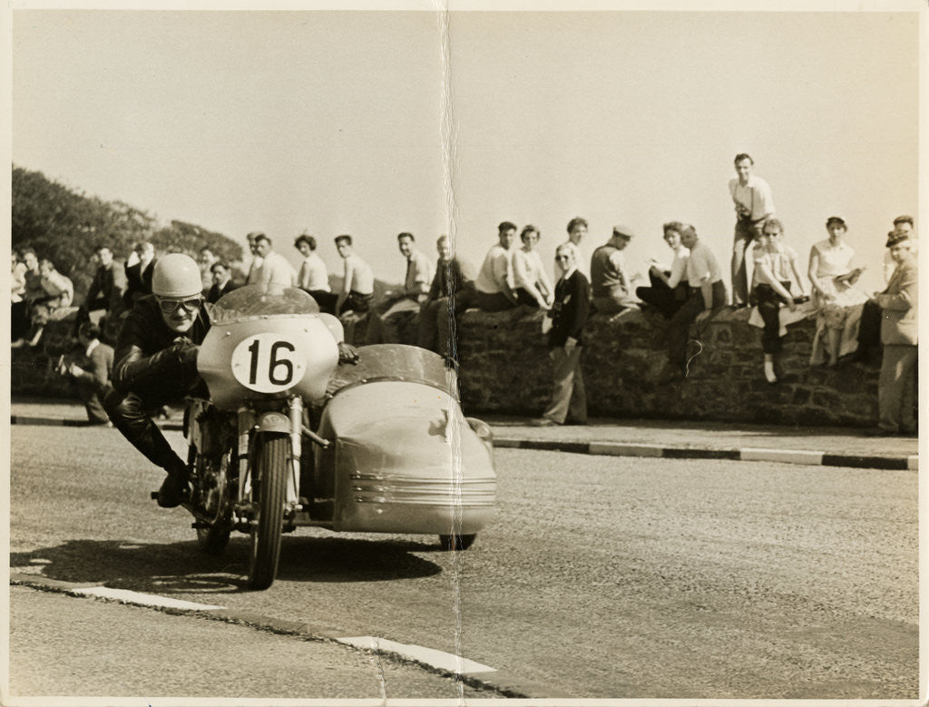 Detail of Eric Oliver, driving sidecar outift (number 16), 1958 Sidecar TT (Tourist Trophy) by T.M. Badger