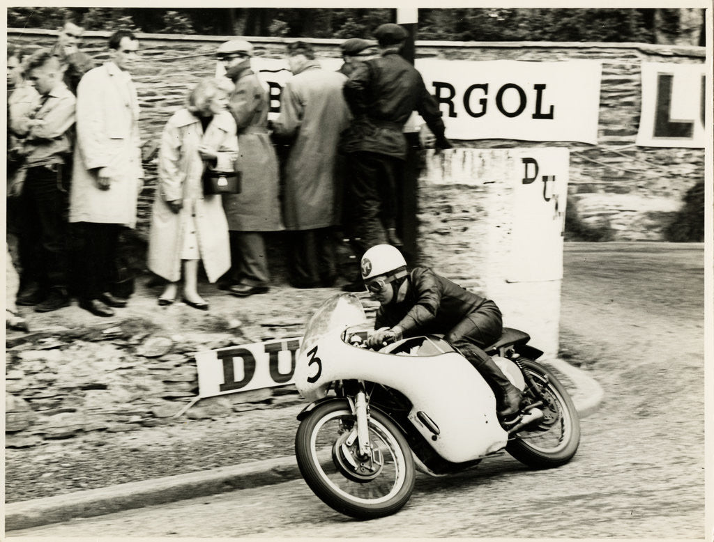 Detail of Jack Wood, TT (Tourist Trophy) rider rounding Governor's bend as number 3 by T.M. Badger