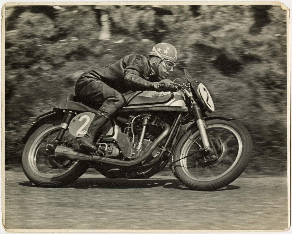 Detail of Nick Nicholson, TT (Tourist Trophy) riding Norton (number 2), 1953 (?) Senior TT by T.M. Badger
