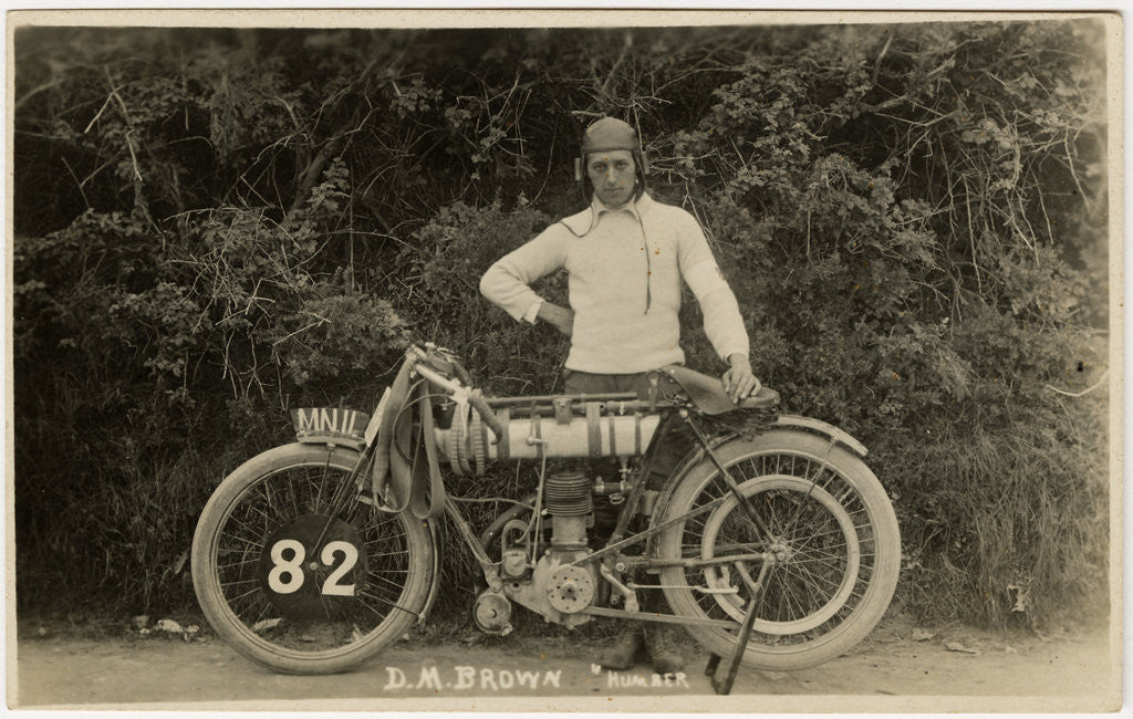 Detail of Dougie M. Brown posing with Humber machine number 82 (registration MN 11), 1914 (?) TT (Tourist Trophy) by Anonymous